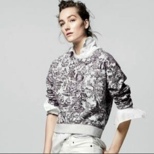 J. Crew Crop Crew Sweatshirt Gray Toile French